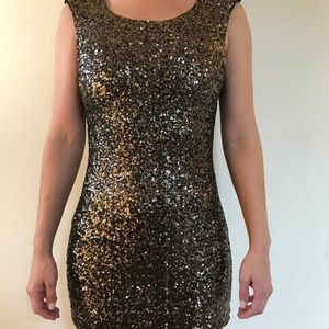 Minkpink Fireworks Gold Sequin Mini Party Dress XS
